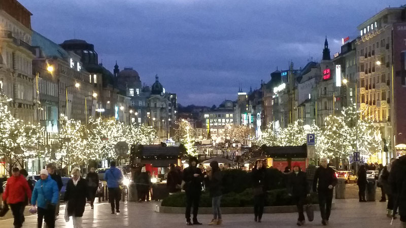 view of wenceslas square in prague at night with christmas market