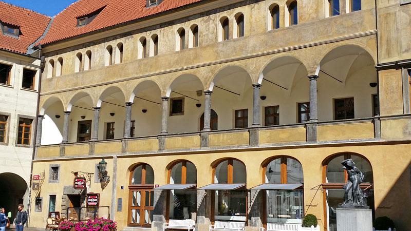 Prague italian renaissance building in the tyn courtyard