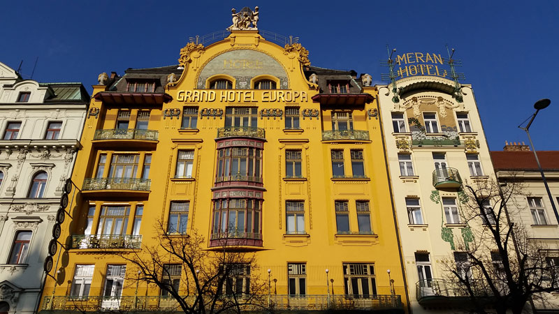 prague wenceslas square hotel evropa