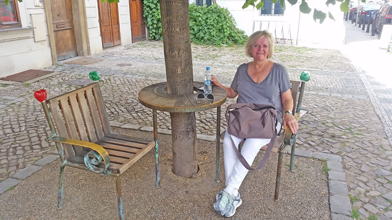 lady sitting in a chair underneath a tree in prague