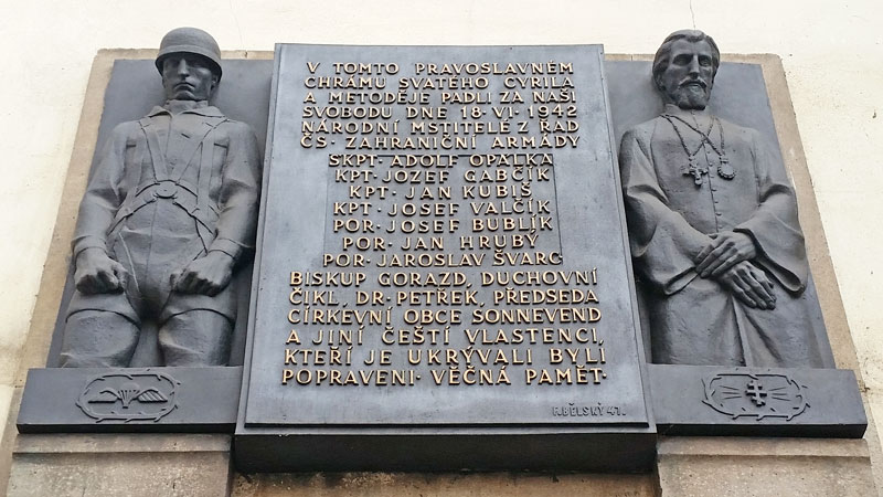 plaque on the church of st cyril and st methodius in prague resslova street