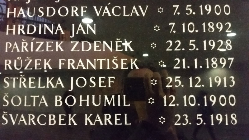 plaque showing people killed in the vicinity of the main railway station during the prague uprising in 1945
