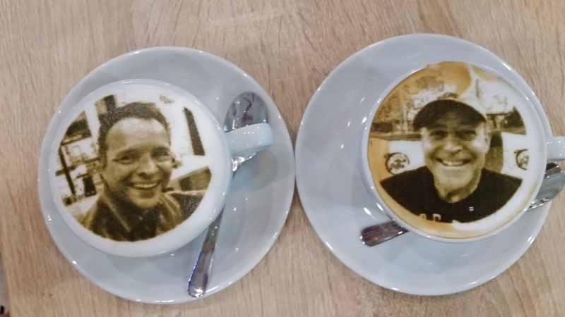 selfie in a coffee cup